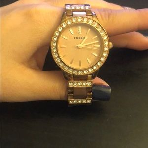 Rose gold fossil watch with extra sparkles